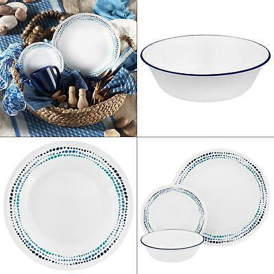 classic 16-piece ocean blues dinnerware set | corelle plates kitchen mugs (16 Piece Classic Dinnerware Set)
