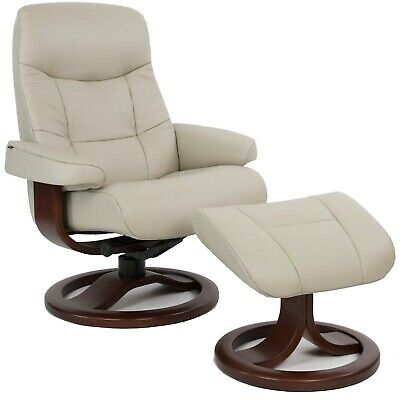 Fjords Muldal Large Recliner Chair - Dove Gray Leather - Wal