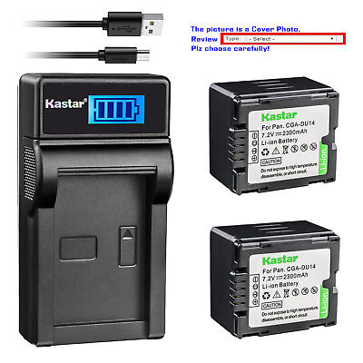 Kastar Battery LCD Charger for Panasonic CGR-DU14 CGA-DU14 & PV-GS31 PV-GS33 Cga Du14 Lithium Ion Battery