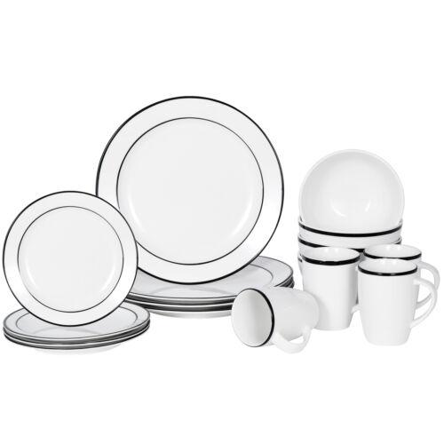 White 16-Piece Kitchen Dinnerware Set Plates, Bowls Mugs Service for 4 Dinner Service Sets