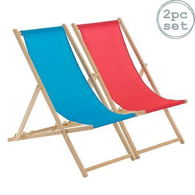 Wooden Deck Chair Folding Garden Beach Deckchair Pink Light Blue Set of 2