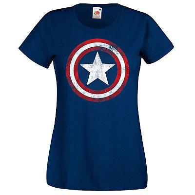 TRVPPY Damen T-Shirt Shirt Modell Captain America Vintage Ironman Hulk XS-XXL