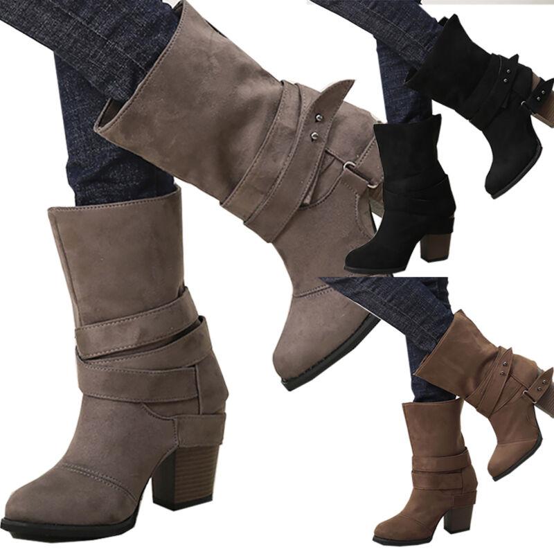 Damen Stiefeletten Blockabsatz Schuhe Schlupfstiefel Stiefel Winter Ankle Boots