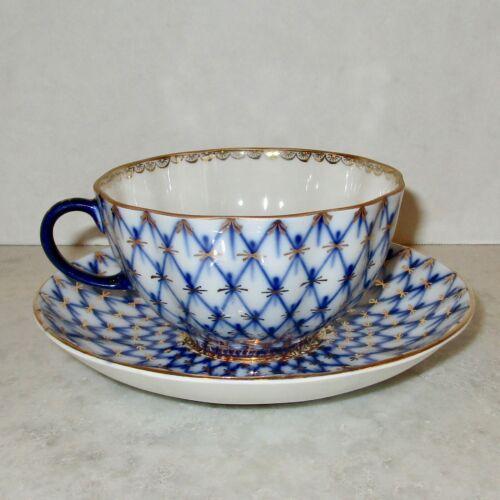 Lomonosov cobalt net LFZ blue gold teacup tea cup saucer USSR Imperial porcelain