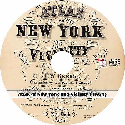 1868 Atlas & Plat Maps of New York ~ NY History & Genealogy Map Book on CD