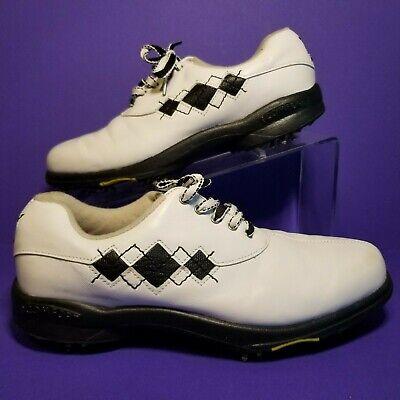 Argyle Golf Schuhe (FootJoy Womens 7.5 Golf Shoes White Black Split Toe Argyle Stitch eComfort 98522)