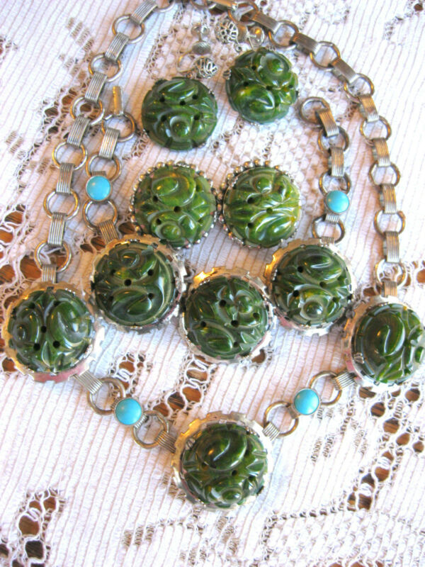CARVED GREEN SPINACH TURQUOISE BAKELITE SET NECKLACE BRACELET EARRINGS RING PIN