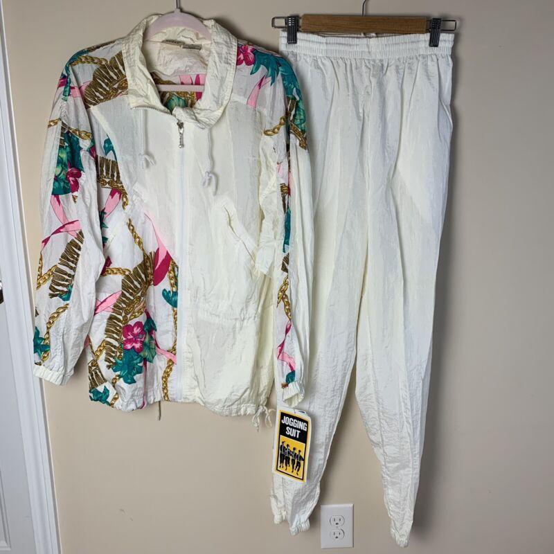 NEW Vtg 80s Athletic Works Womens Medium Nylon Windbreaker Full Tracksuit White