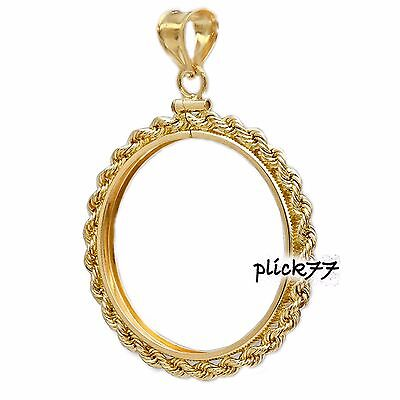 1000 Lira Coin Bezel Gold Filled Rope Frame Mount Pendant