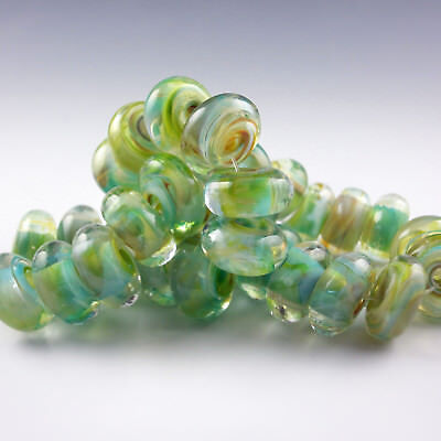 "8 Handmade Lampwork Glass Beads, Artist made Beads - ""Oasis"""
