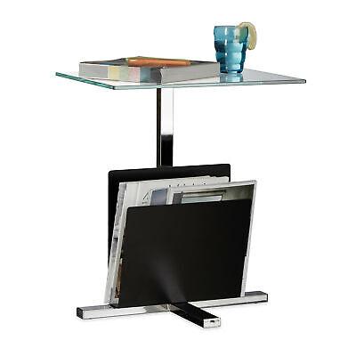 Mesa auxiliar con revistero negro, Mesa centro de cristal y metal, 53x46x36...