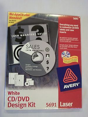 Avery 5691 White Cd Dvd Design Kit Labels Cddvd Laser Jewel Case Inserts 30 Set