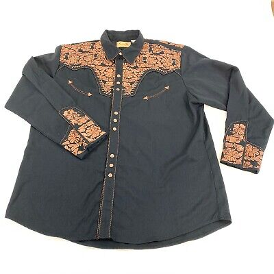 Scully Western Snap Button Embroidered Shirt Black & Brown XXL Cowboy Country Embroidered Black Western Shirt