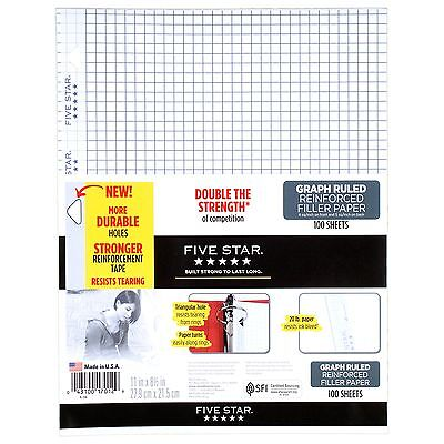 Five Star Reinforced Graph Filler Paper 100 Sheets 17012 Mea17012