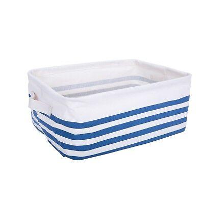 Blue Strips Clothes Laundry Bag Wardrobe Drawer Organizer Toy Shelve Storage