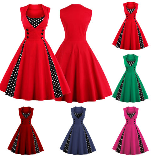 Rockabilly 50er Swing Petticoat Vintage Hepburn Tunika Partykleider Tanzkleid