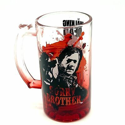 "Walking Dead AMC Glass Mug Sorry Brother Zombie Blood Red 6"" tall"