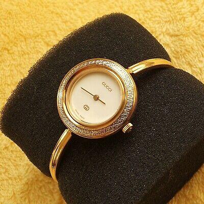 Gucci 11/12 18k GP Women's Bangle Watch with Diamond Cut metal Bezel (NR540)