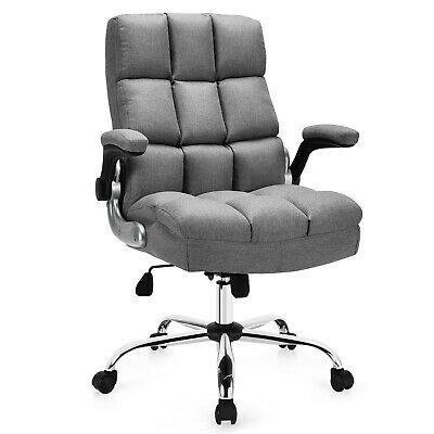 Costway High Back Big Tall Office Chair Adjustable Swivel Wflip-up Arm Grey