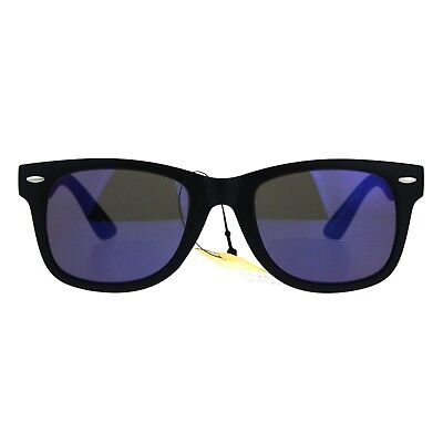 Bifocal Magnified Lens Sunglasses Trendy Square Horn Rim Mirrored (Magnifying Sunglasses Not Bifocal)