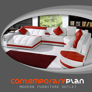 Miami Contemporary Leather Sectional Sofa Set   Curved Modern Design Red /  White