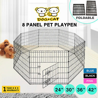 """New 24""""30""""36""""42"""" 8 Panel Pet Playpen Dog Cage Kennel Crate Metal Enclosure Fence"""