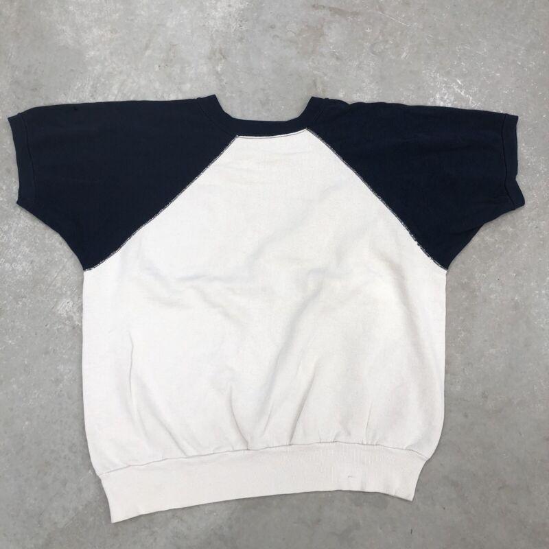 Vintage 1960s Sweatshirt 60s 100% Cotton Short Sleeve Faded Blue Short Sleeve