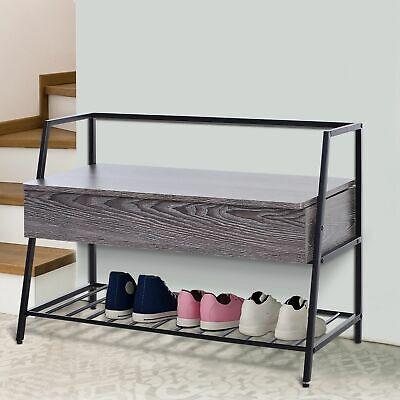 HOMCOM 2 Tier Shoe Storage Bench  MDF Trunk Industrial Style w/Steel Frame Grey