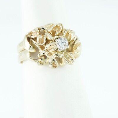 14k Yellow Gold Diamond Ring Band Sz 5.5 Wedding Nugget Freeform 5.7g Not Scrap