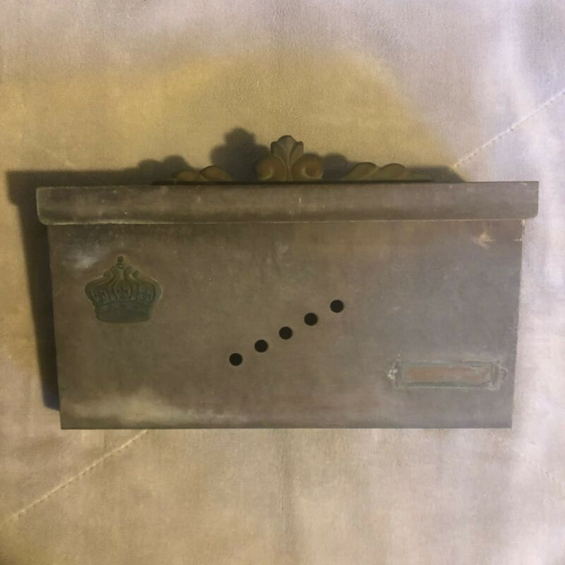 Vintage Copper Mailbox Wall Mounted Metal Mail Box w/Crown