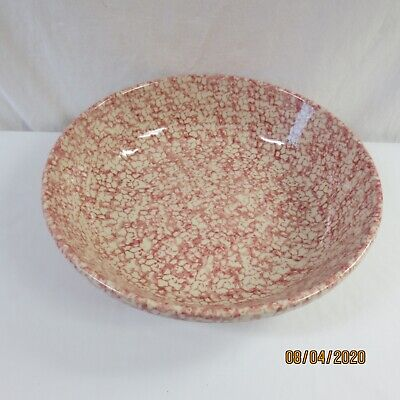 Workshop of Gerald Henn XLarge Red Pink Spongeware Serving Bowl Pottery 13""