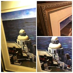 Greece Santorini Seaview Large Matted Framed Limited Edition
