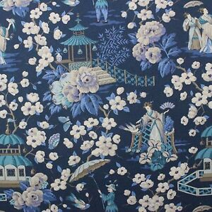 P KAUFMANN SUMMER PALACE ZEPHYR BLUE CHINOSERIE ASIAN TOILE FABRIC BY YARD 54