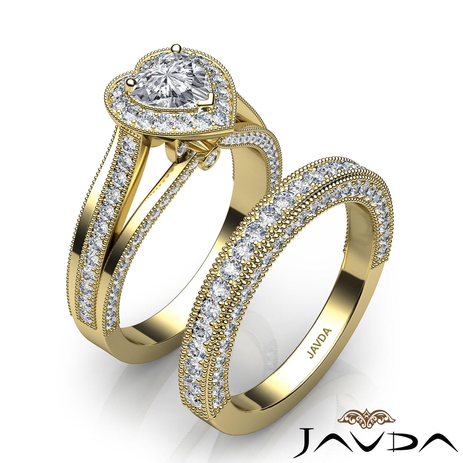 2.24ctw Halo Milgrain Edge Bridal Heart Diamond Engagement Ring GIA F-VS1  Gold 9