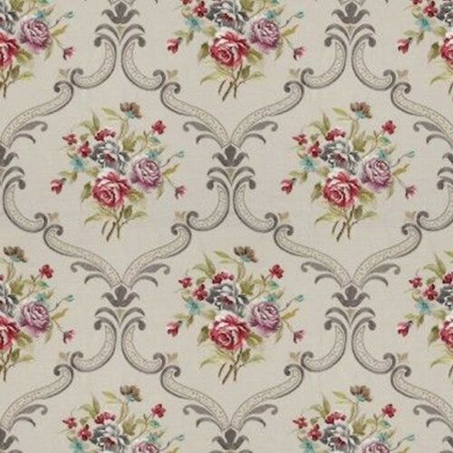 Dollhouse Miniature Shabby Chic Wallpaper Gray Grey Roses Floral Flowers 1:12