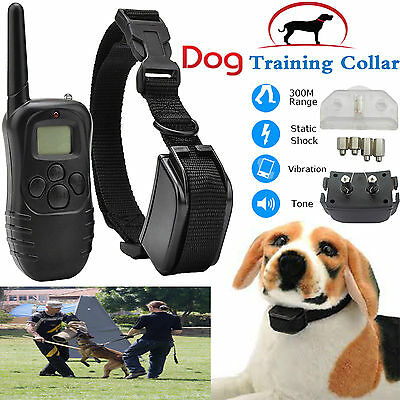 Dogs Anti-Bark Training Collar Electric Shock Vibrate LCD Remote Rechargeable UK