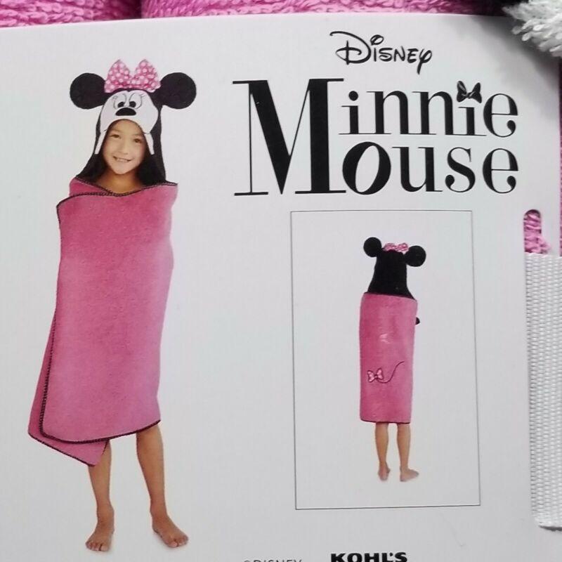 "Disney Minnie Mouse Hooded Beach Swim Bath Wrap Towel 25"" x 50"" Pink The Big One"