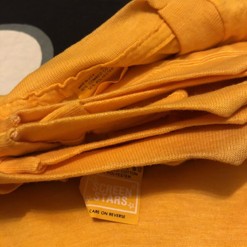 Lot of 8 Screen Stars VTG Shirts 80s Blank Kids Youth Medium 10-12 Yellow NOS DS