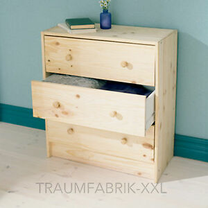 Bois massif commode avec 3 tiroirs pin armoire garde robe ikea rast neuf ebay - Commode pin massif ikea ...