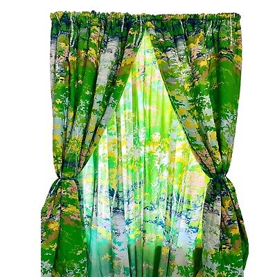 70s Vintage MCM TREE DRAPERY PANELS Curtains Forest Green Long Handmade Mod
