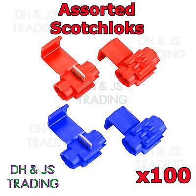 100 Assorted Scotchlock Wire Connectors Scotchlocks Splice Terminal Crimp Mix
