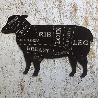 LAMB Sign Rusty Metal Home BBQ Kitchen butchers cuts Meat Shop Kitchen Eat
