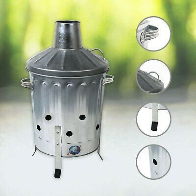 15L Mini Incinerator,Galavanized Fire Bin,Garden Leave Paper Debris Waste Burner