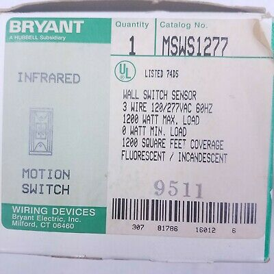 Bryant Hubbell Infrared Motion Switch Msws1277 Wall Switch Sensor