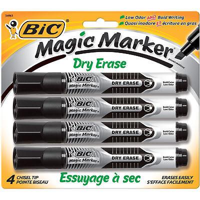 Bic Eraser - BIC Magic Marker Brand Dry Erase Marker, Chisel Tip, Black, 4-Pack