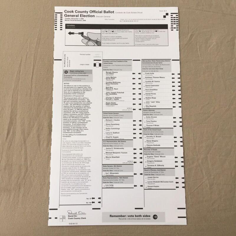 Barack Obama Official Voting Ballot- 2008