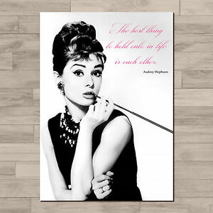Audrey Hepburn inspirational quote. A4 Canvas paper poster print.