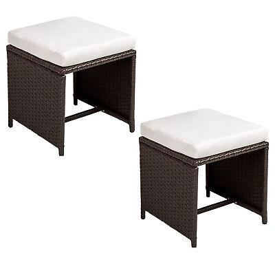 zwei Polyrattan Sitzhocker Rattanmöbel Stühle 2er Set Antik braun B-Ware - Zwei Hocker Set