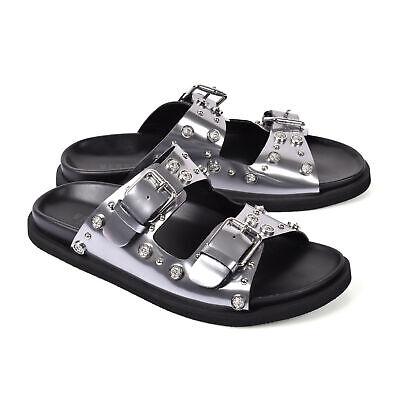 Versace Collection Men's Silver Sandal W/ Buckle EU 39-41 US 6-8 NEW