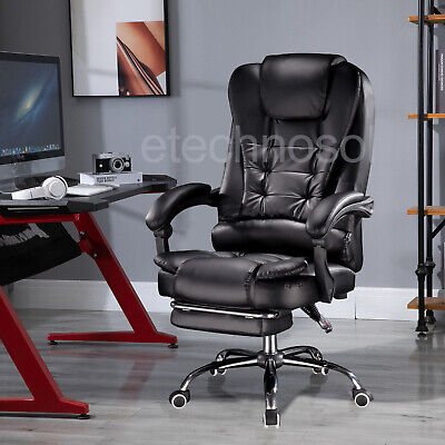 Luxury Office Computer Chair 360° Gaming Swivel Recliner Leather Executive UK